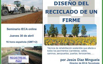 IECA organiza un nuevo webinar sobre diseño del reciclado de firmes