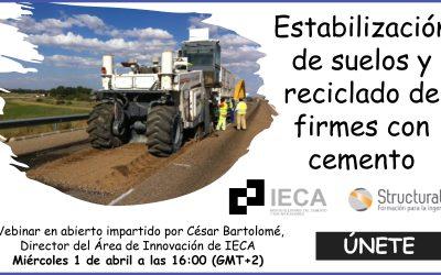Hoy, webinar en abierto: «Estabilización de suelos y reciclado de firmes con cemento»