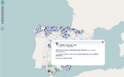 La DGT estrena mapa interactivo con datos en tiempo real incluyendo avisos por accidentes y temporal