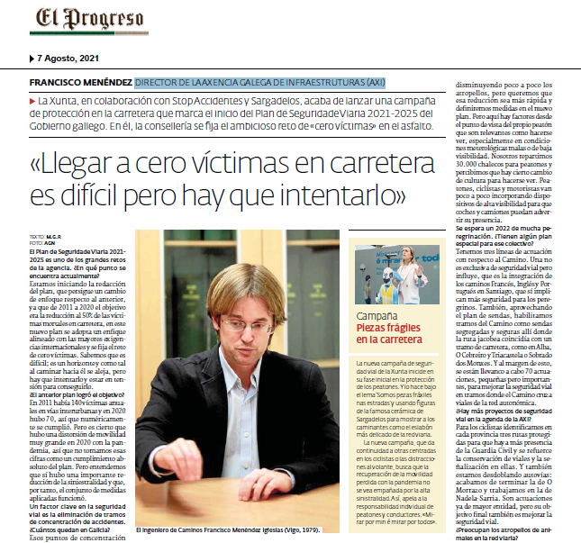 Francisco Menéndez (Xunta):»Llegar a cero víctimas en carretera es difícil, pero hay que intentarlo»